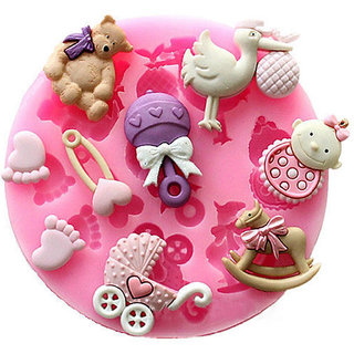 Baby Shower Theme Silicone Clay Chocolate Soap Mold Mould For Fondant Cake Decorating