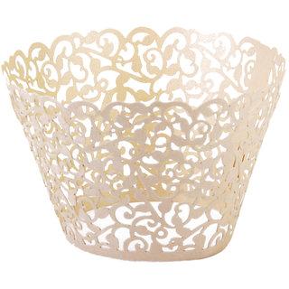 Hollow Out Vines Pattern Cupcake Paper Wrap Cake Wrapper Wedding Decor 12Pcs