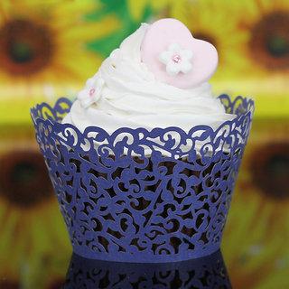 Hollow Out Vines Pattern Cake Paper Wrap Cupcake Wrapper Wedding Decor 12Pcs