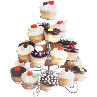 4 Tier 23-Cup Metal Christmas Tree Cupcake Stand Party Supplies