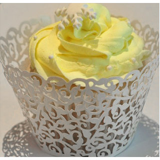 Phenovo Hollow Vine Cupcake Wrappers Collars Wedding Party 50pcs Ivory