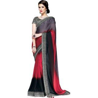Triveni Multicolor Satin Lace Saree With Blouse