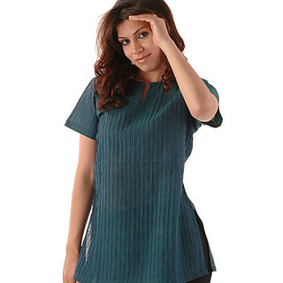 Women Green Cotton Kurti 001