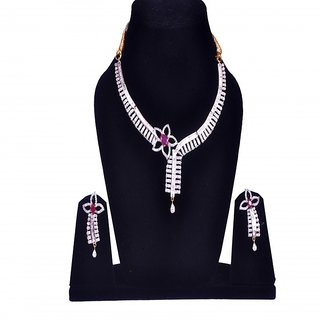 Trenzish Collection American Diamond Necklace Set With Ruby Stone for Women with