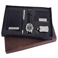 Ferry Rozer Black Combo Gift Set Of Watch, Wallet, Card Holder, Key Chain  Pen