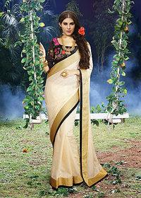 Vardhini Purple Linen Floral Saree With Blouse