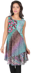 18 Fire Printed Georgette Kurti With Sequins Fancy Work