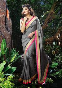 Vardhini Gold & Khaki Brocade Floral Saree With Blouse