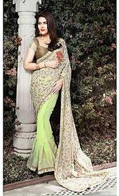 Vardhini Blue & Brown Brocade Floral Saree With Blouse