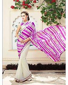 Vardhini Purple & Khaki Raw Silk Self Design Saree With Blouse