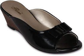 Flora Latest Casual Wear Black Wedges