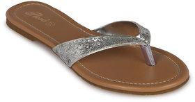 Flora Casual Wear Silver Flat Slipper