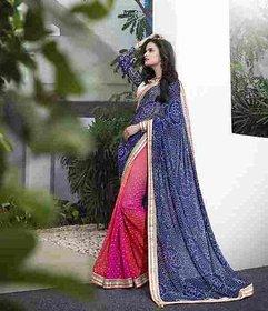 Vardhini Black & Sky Blue Brocade Printed Saree With Blouse