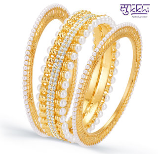 Sukkhi Wavy Gold Plated AD Moti Set of Three Kada for Women