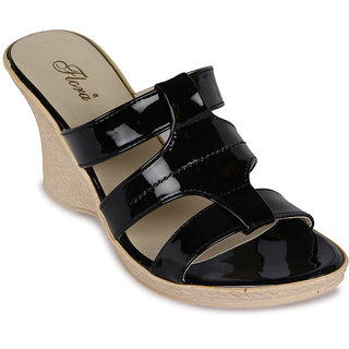 Flora New Casual Black Wedges