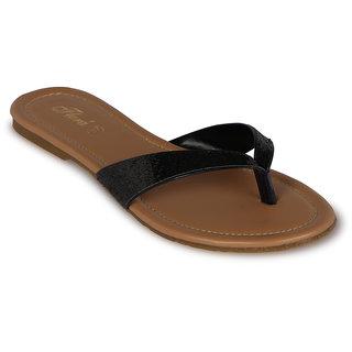 Flora Casual Wear Black Flat Slipper