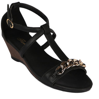 Flora Latest Casual Black Wedges