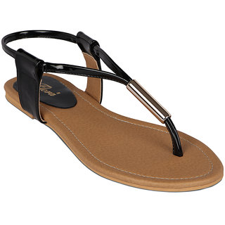 Flora Casual Wear Flat Black Sandal