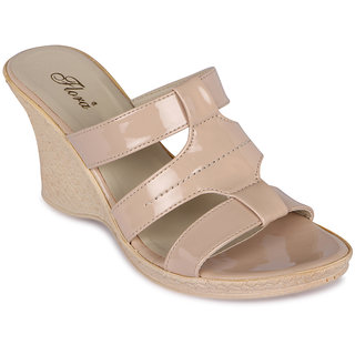 Flora New Casual Wear Cream Wedges
