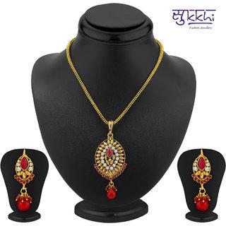 Sukkhi Wavy Gold Plated Pendant Set