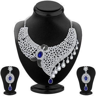 Sukkhi Lavish Rhodium Plated AD Necklace Set For Women