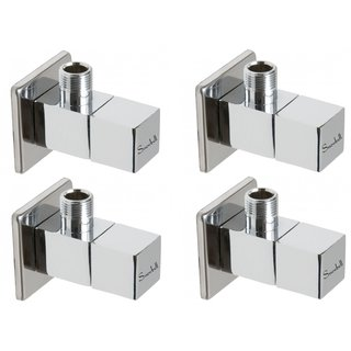 Snowbell Angle Cock Square Brass Chrome Plated - Set of 4