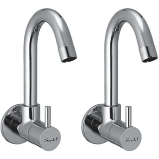 Snowbell Sink Cock Flora Brass Chrome Plated - Set of 2