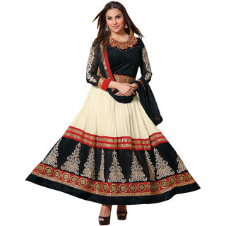 Florence Black And Cream Georgette Embroidered Salwar Suit Dress Material (Unstitched)