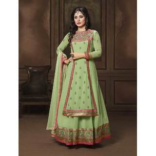 Thankar Green Embroidered Georgette Anarkali Suit