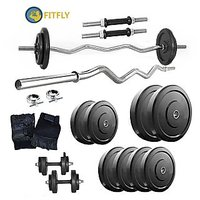 Fitfly Home Gym Set With 26 Kg Weight &3Ft Curl Rod&Dumbbells Rod&Gloves