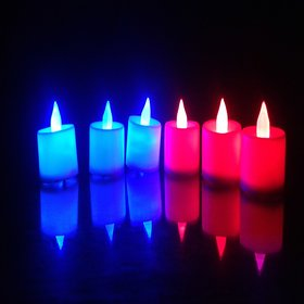 VRCT Battery Operated Led Candle Color (Pack of 6)