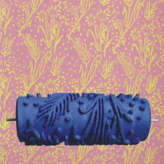 15cm Wall Decoration Empaistic Flower Pattern Painting Roller - Blue (14009145)