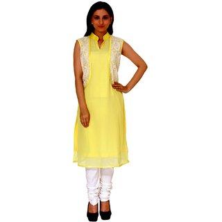 Raagbydeepa Cotton Silk M Yellow Designer V-Neck Kurti for Girls