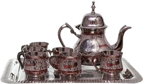 Halowishes Pure Brass Royal Meenakari Work Real Tea Set -117