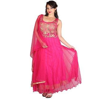 Manmandir Womens Net party Wear Pink Salwar
