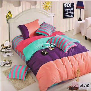 Welhouse India Cotton Ultra-Peach color Double Bedsheet  Two Pillow covers