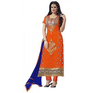 Khoobee Presents Embroidered Georgette Dress Material(Orange)
