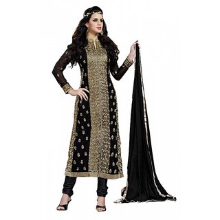 Khoobee Presents Embroidered Georgette Dress Material(Black,Beige)