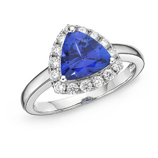 Lab Create Tanzinite and CZ Diamond Studded Silver Jewellery Ring