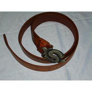 Brown Shade Leather Look Branded Belts