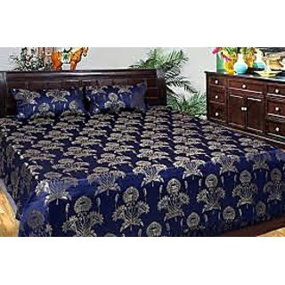 Silicon city Exclusive Silk Double Bedsheet with 2 pillow covers - Blue