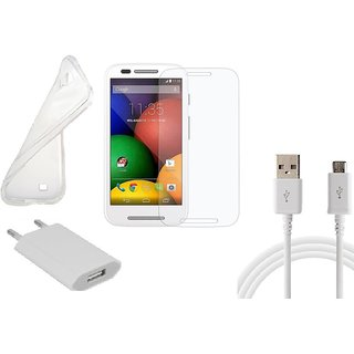 HQ USB Charger+USB Cable+Back Cover+Temper for Motorola Moto E
