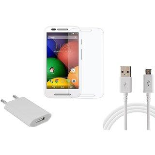 HQ USB Charger+USB Cable+Temper for Motorola Moto E