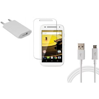 HQ USB Charger+USB Cable+Temper for Motorola Moto E2