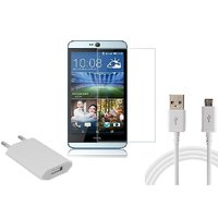 HQ USB Charger+USB Cable+Temper for HTC Desire 826