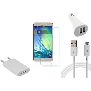 HQ USB Charger+USB Cable+USB Car Charger+Temper for Samsung Galaxy A7