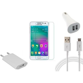 HQ USB Charger+USB Cable+USB Car Charger+Temper for Samsung Galaxy A5