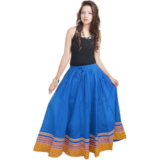 Rajasthani Specially Designed Full Length Blue Skirt in Bottom