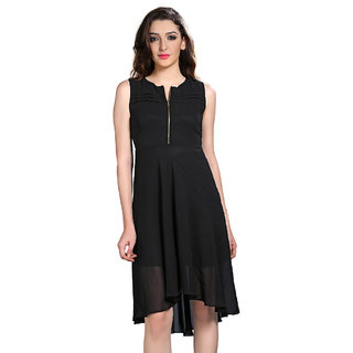 Brii Womens Breezy Black Polyster Solid Dress