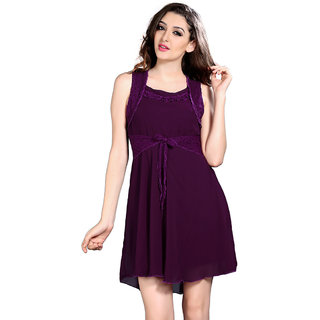 Brii Womens Purple Solid Casual Dress